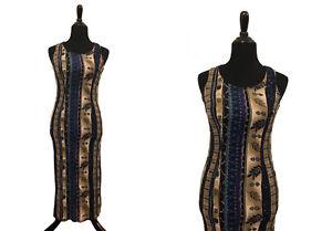 size SM 90/'s brown Tiger Print Striped Sleeveless Dress