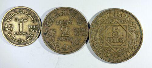 MOROCCO 3 PIECES PROTECTORATE FRENCH bronze EMPIRE CHERIFIEN 1f 2f et 5f