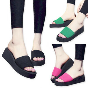 Women-Ladies-Casual-Wedge-Thick-Slippers-Flip-Flops-Thong-Sandals-Beach-Shoes