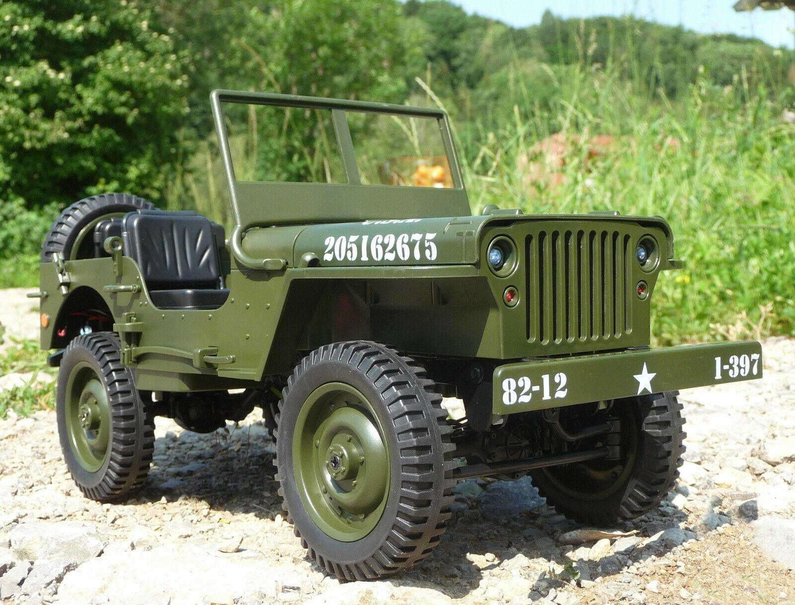 RC jeep militar Willys con luz & longitud batería 34cm por control remoto 2,4ghz 403105