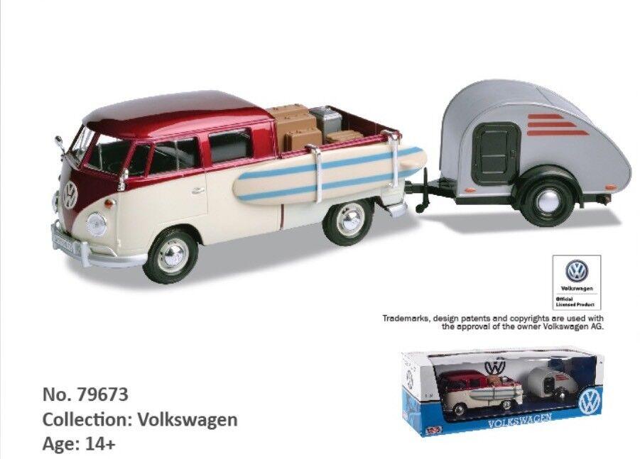 1 24 Scale VW T1 Type 2 Camper Van Teardrop Caravan Diecast Model 1962 Motormax