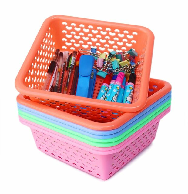 Small Plastic Storage Baskets Organizer Set Of 8 In 4 Orted Colors