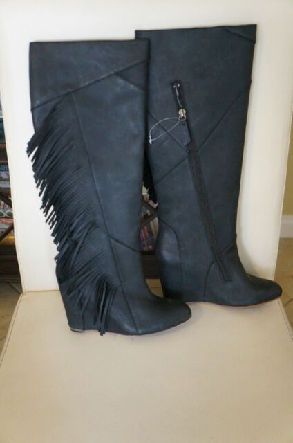906747c78ae5 NEW Designer KOOLABURRA Paradis Black Knee High Fringe Wedge Boots SZ 7  350