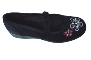 DB-Shoes-femme-extra-large-2E-4E-Raccord-Chaussure-De-Maison-Noir-Taille-8