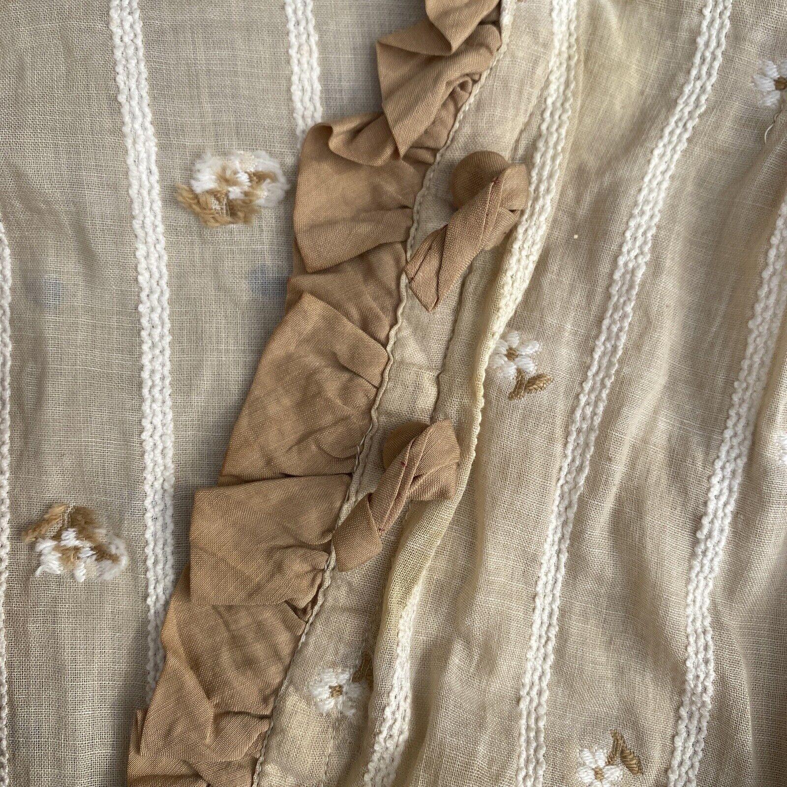 Antique Edwardian Ecru Cotton Blouse Top Embroide… - image 5