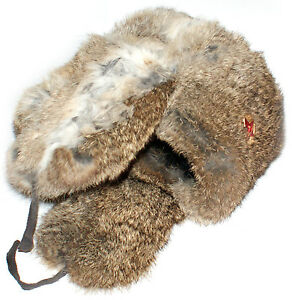 Genuine Brown Rabbit fur Russian ushanka winter hat Trapper Bomber w ... 99dedf8e45ae