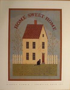 art-print-HOME-SWEET-HOME-Warren-Kimble-folk-house-cat-White-Picket-Fence