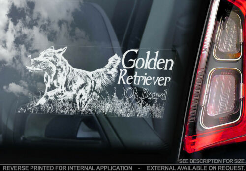 Hunting Gun Dog on Board Sign Golden Retriever Car Window Sticker TYP2