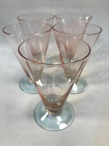 PV03909-Vintage-Fry-Glass-Pink-Bowl-Blue-Stem-OPTIC-ARCH-Footed-Tumbler-5pcs