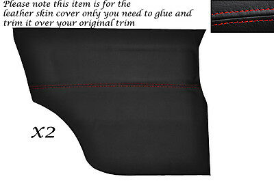 RED STITCH 2X REAR DOOR CARDS LEATHER SKIN COVERS FITS MINI CLASSIC COOPER