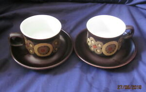 DENBY-ARABESQUE-2-X-TEA-CUPS-AND-SAUCERS-VERY-GOOD-CONDITION