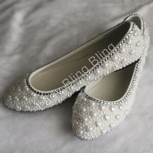 Abendschuhe-Brautschuhe-Ballerinas-Damen-Schuhe-flach-Perlen-Strass-Handarbeit