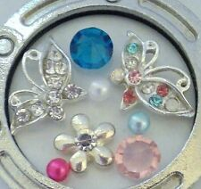 Crystal Butterfly Floating Charm Set for Locket Silver Flower Crystal Pearl