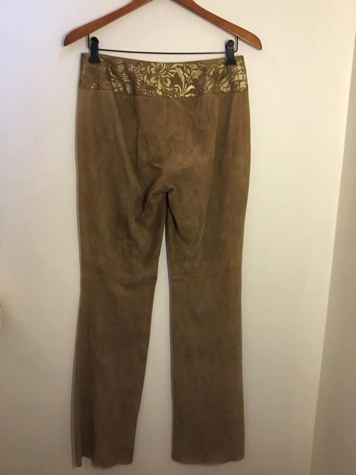 Ralph Lauren Black Label Gold Painted Brown Suede… - image 2