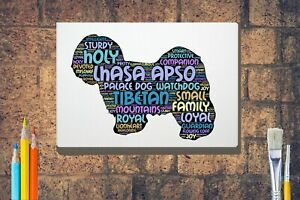 Lhasa-Apso-Dog-Word-Art-Canvas-A4-A3-A2A1-Mothers-Day-Gift-Personalised-Option
