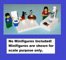 LEGO Custom Tiled Bathroom Toilet Shower Sink Miniature Mini Doll House Potty WC