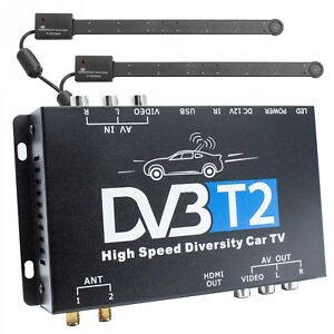 dvb t2 hevc receiver 2x antenne auto kfz 12v 24v dvbt2 tuner empf nger box ebay. Black Bedroom Furniture Sets. Home Design Ideas