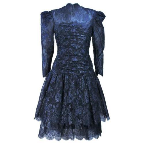 ARNOLD SCAASI Navy Metallic Lace Cocktail Dress S… - image 1
