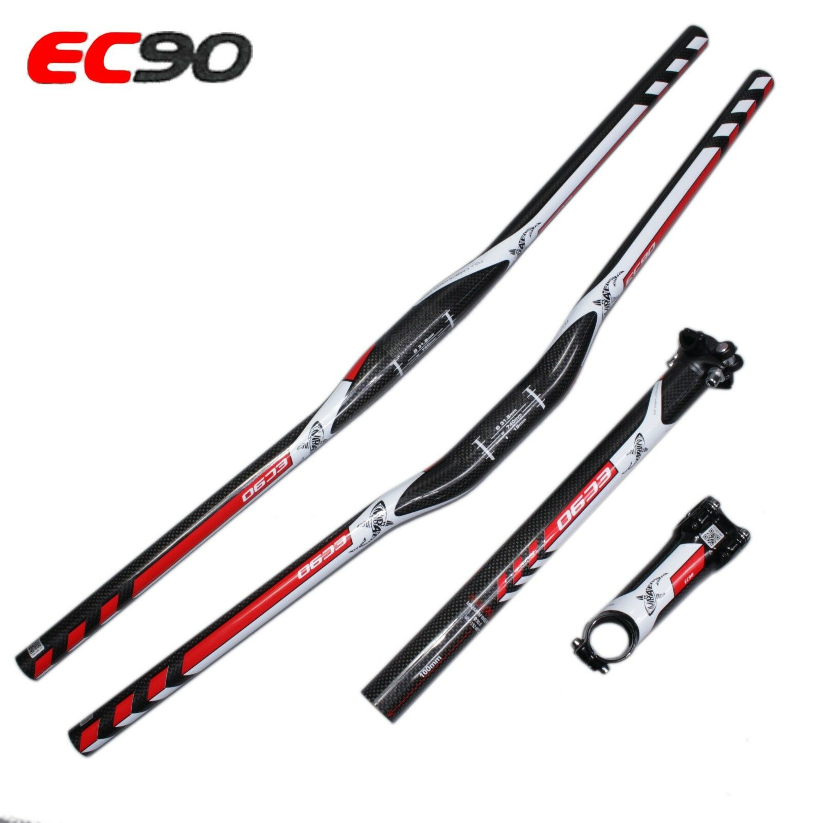 NEW EC90  Carbon Fiber Riser Flat MTB bike Handlebar+Carbon Stem+Carbon seatpost