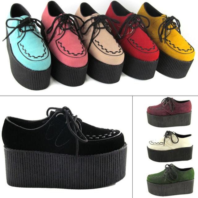 "Ladies High Platform Womens Trendy Retro Flat Triple Creeper 3"" Shoes Boots Size"