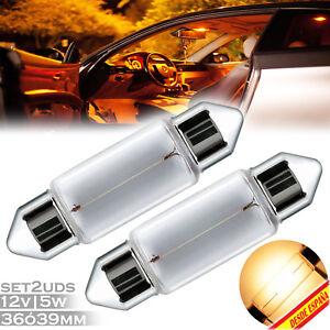 2x-BOMBILLA-LUZ-AMARILLA-C5W-C11-MATRICULA-POSICION-GUANTERA-12V-5W-YELLOW-LAMP