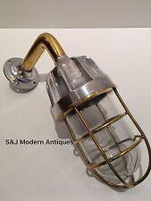 Antique Industrial Wall Light Brass Aluminium Bulkhead Marine Vintage Ship Lamp