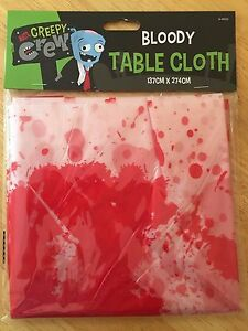 HALLOWEEN SCARY BLOOD SPLATTERED TABLECLOTH, 274 x 137cms, NEW & SEALED
