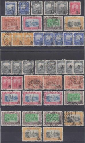 COLOMBIA 1951-54 Sc C201 thru C216 FORTY ONE STAMPS SHADES USED SCV$116.00