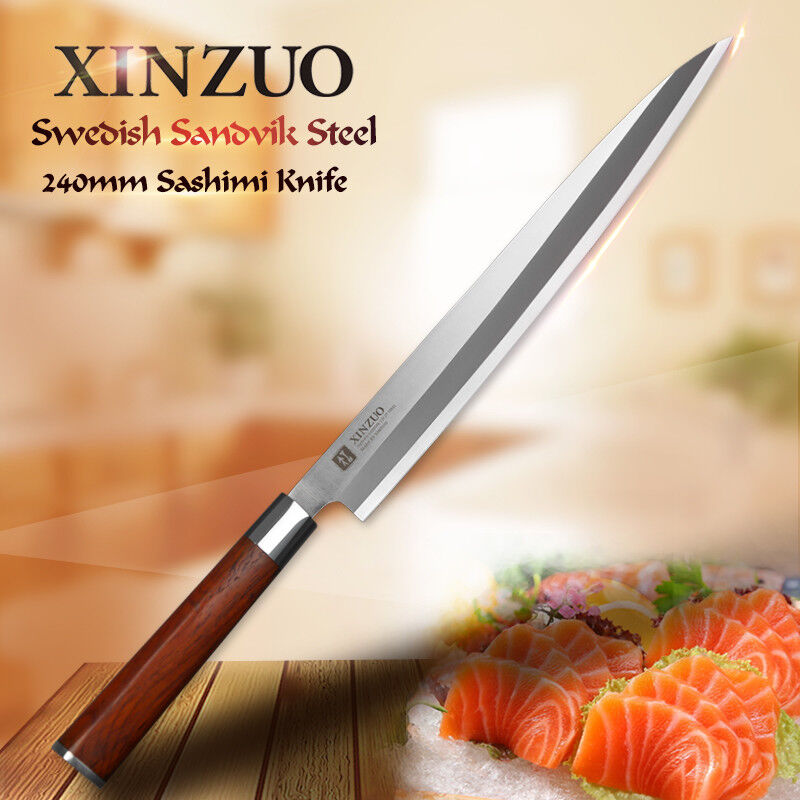 Slicing Knife Carving Sashimi Sushi Swedish Steel Wood Handle Salmon Tuna Nigiri