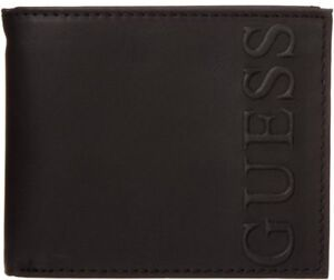 GUESS MEN'S WALLET FRENSO BILLFOLD BLACK LEATHER PASSCASE CREDIT CARD