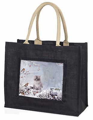 Geist Katze auf Kätzchen Uhr große schwarze Einkaufstasche Weihnachtsgeschenk,