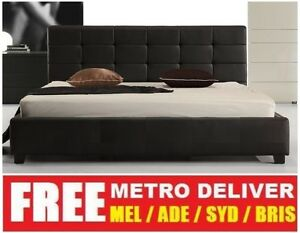 Milan Double Queen Or King Size Black White Pu Leather Wooden Bed