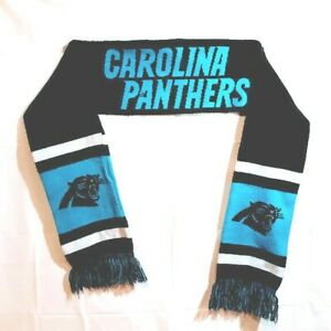 Carolina-Panthers-NFL-Scarf-Double-Sided-Logo-Black-Blue-Forever-FREE-SHIPPING
