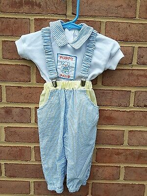 NWT Boys Classic Vintage Gingham Seersucker with Keyhole Collar