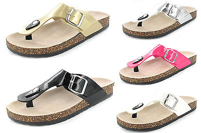 Señoras para mujer Nuevo Slip On Plana Corcho Verano Sandalias Toe Post Flip Flop Tamaños Reino Unido
