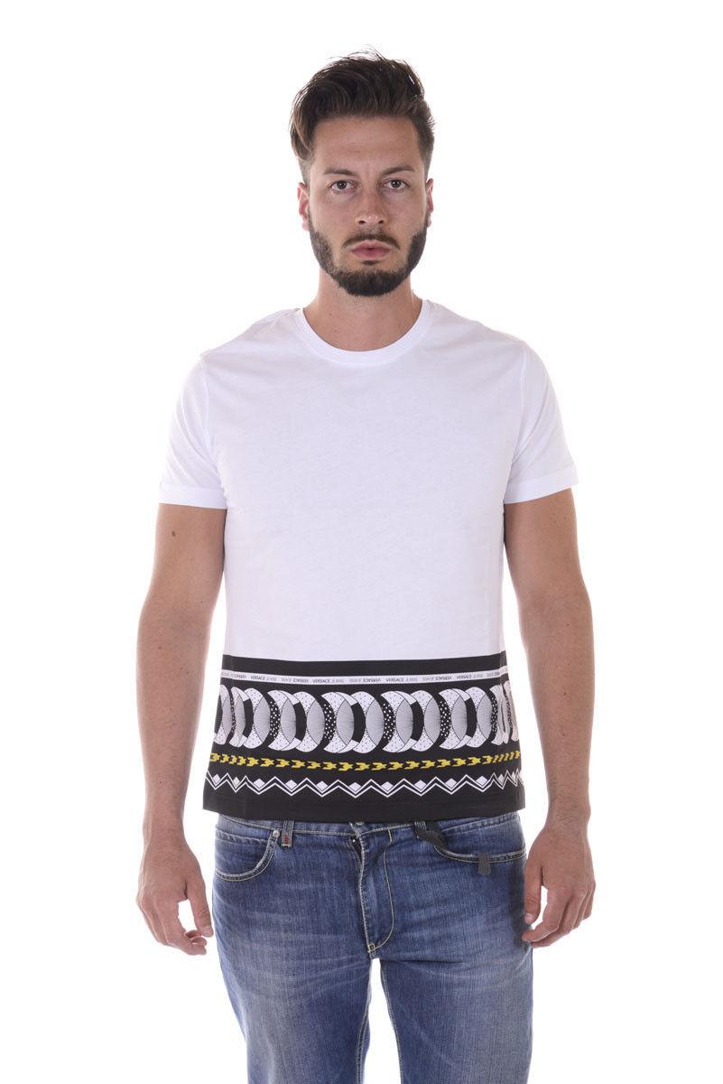 T shirt Maglietta Versace Jeans Sweatshirt SLIM Cotone  Herren Bianco B3GQA764 3