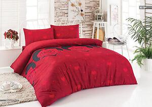 Bettwäsche Baumwolle 200 X 220 Cm Rot 3 Teilig Mit Reißverschluss
