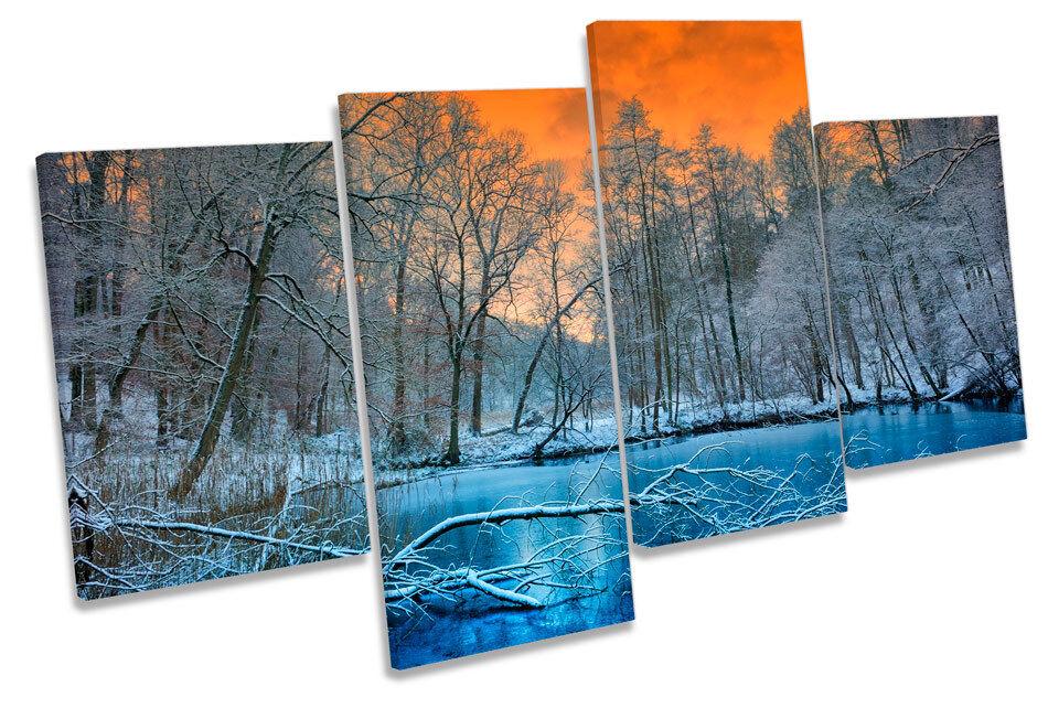 Winter Landscape Sunset Bild MULTI CANVAS Wand Kunst Drucken