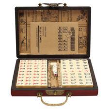 Portable Vintage Mahjong Rare Chinese 144 Tiles Mah-Jong Set Toy W/ Leather Box