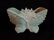 NELSON MCCOY BUTTERFLY PLANTER VASE BLUE MATTE GLAZE 1940'S