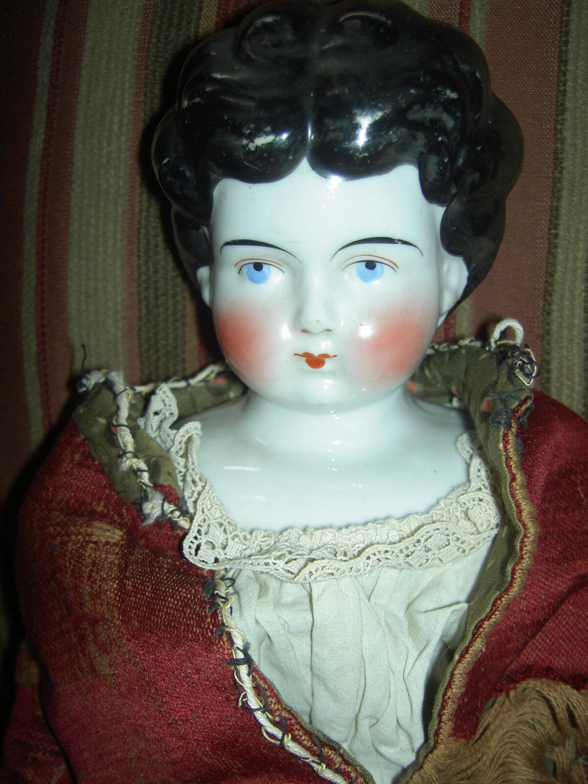 Hermosa 22  de alto, Alemán Antiguo Muñeca De Porcelana, Morena Baja frente, ligeramente converdeido