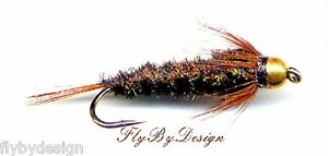 Bead-Head-Halfback-Nymph-Twelve-Fly-Fishing-Nymph-Flies-Choice-of-Hook-Size