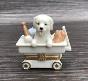 Vintage Lenox Treasures Trinket Box Wagon of Surprise Treasure Box with Charm