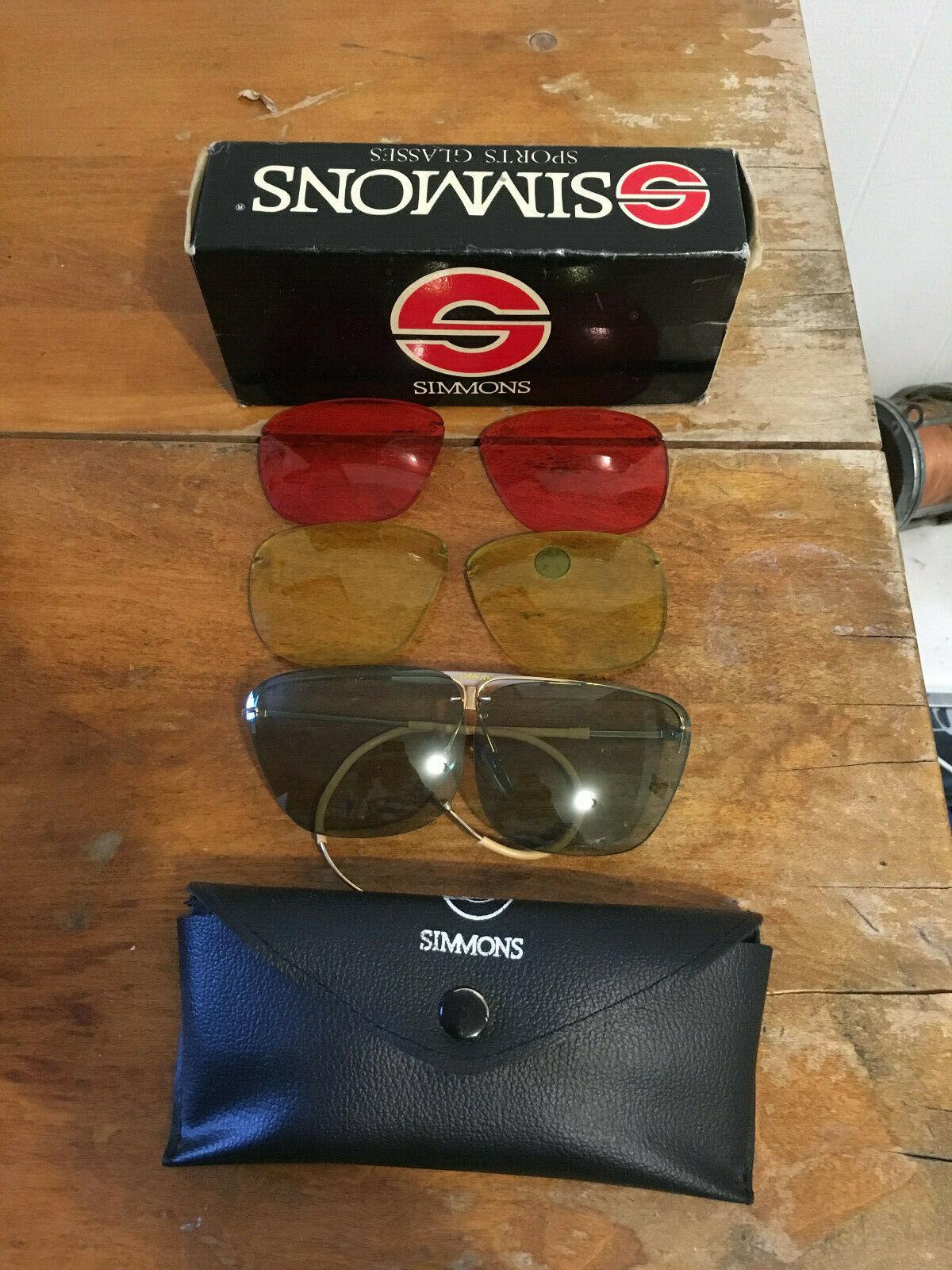 Simmons Aviator Shooting Sport Sunglasses Glasses 3 Couleur Lens Case + Box  1350