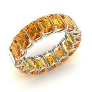 7.50 Ct Citrine Emerald Diamond Wedding Eternity Band 925 Sterling Silver Size 6