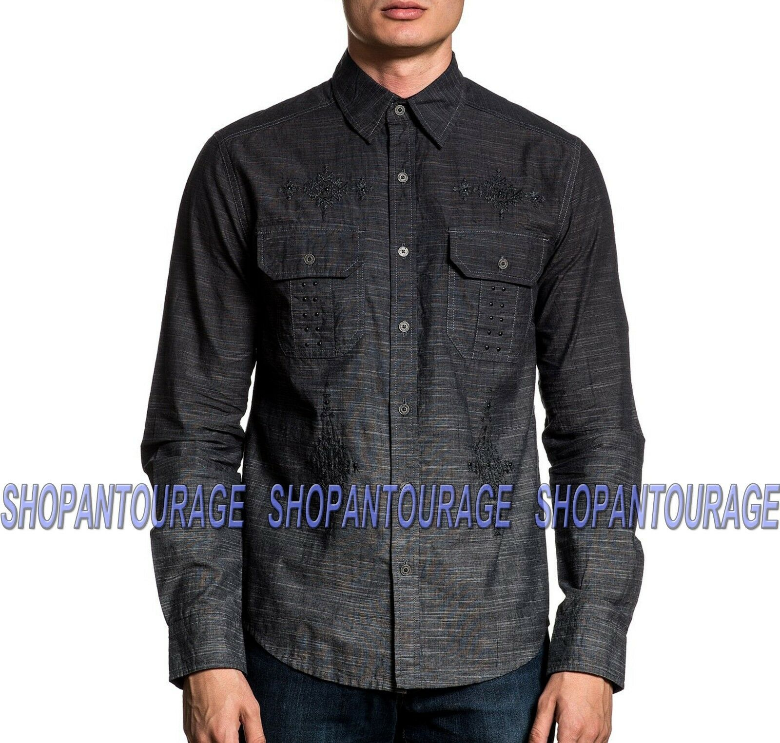 Affliction Distinct 110WV765 Long Sleeve Embroiderot Button-Down Shirt For Men