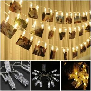 new styles 1d6d9 df503 Details about Colorful 10 LED Photo Peg Clip String Light Lamp Chain Party  Wedding Decorations