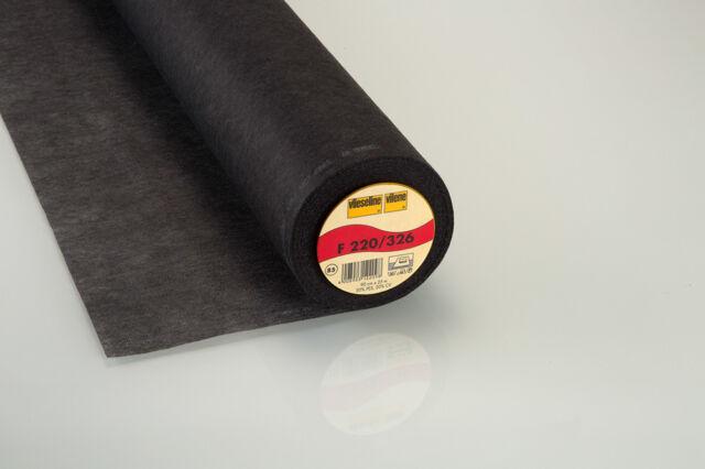 1m Vlieseline Freudenberg Inserción de Hierro F220 Grafit Negro 90cm Ancho