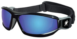 Crews Reaper Safety Goggles with Blue Mirror Lens, Black Frame
