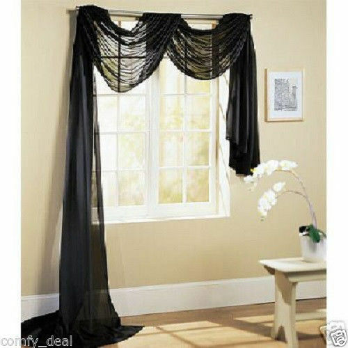 """Solid Black Voile Sheer Window Scarf Curtain 55/""""x216/"""""""
